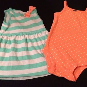 2pc Outfit Stripped Dress w Polka Dot Bodysuit